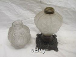 Ornate Beaded Frosted Wrinkle/crinkle Glass Oil/kerosene Fluid Lamp+shade Gwtw