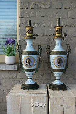 PAIR antique French oil Lamps porcelain Bronze Egypt potrait heads Rare marked
