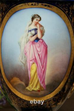PAIR antique Vieux paris bayeux porcelain oil lamp vases portrait lady