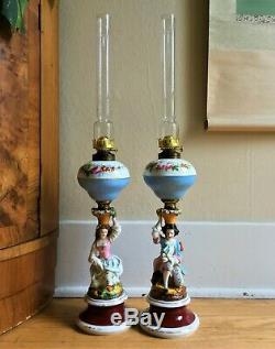 PAIR of 1860s Antique Porcelain Figural Oil Lamps European Hand Painted EUC