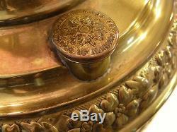 PRICE DROP VICTORIAN OIL LAMP 1890's CRANBERRY & BRASS, EDWARD MILLER, JUNO