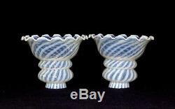 Pair (2) Blue Opalescent Swirl Kerosene Oil Electric Lamp Shades Fenton