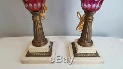 Pair Antique Red / Cranberry Etched Cut to Clear Glass Oil Lamps Electrified