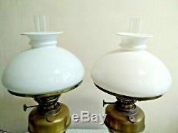 Pair Antique Vintage Brass & Ceramic Base Oil Lamps & White Glass Shade Chimney