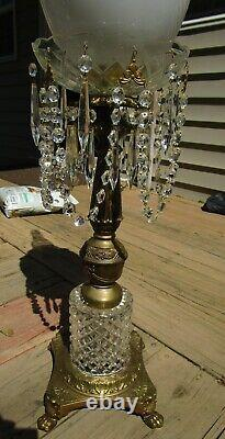 Pair Large Vintage Antique Cut Glass Brass Prism 45h Parlor Banquet Oil Lamp