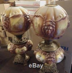 Pair Of Antique Consolidated Co Gone With The Wind Oil Lamp Blown Out Lions Head