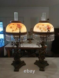 Pair Of Antique Victorian Style Bronze/Brass Cherub Oil Lamps Converted 40