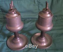 Pair Of Beautiful New England Antique Pewter Whale Oil Lamps 1820 1850