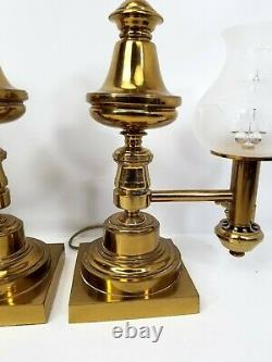 Pair of Antique Messenger & Sons Argand Brass Lamps with Foliate Glass Shades