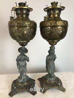 Pair of Antique Miller Co. Meteor Oil Lamps Figural Banquet Parlor GWTW 40