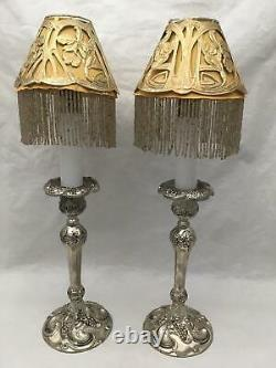 Pair of Antique TWILIGHT Glass Candle Lamps Burn Oil w BEADED ART NOUVEAU Shades