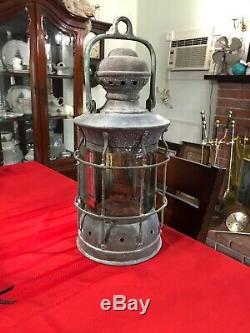 Perkins Antique Brass Ship Oil Lantern Marine & Lamp Sea NavigationCirca 1916