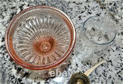 Pink Depression Lancaster Glass Dot Optic Oil Kerosen Lamp Vtg Antique