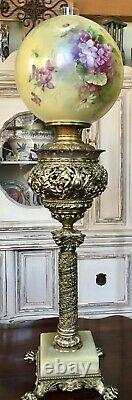RARE 19th C. Bradley & Hubbard Banquet Brass Lamp Oil Kerosene B & H Antique