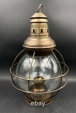 RARE 8 Brass Perkins Ships Maritime Nautical Oil Lamp Lantern WithOriginal Globe