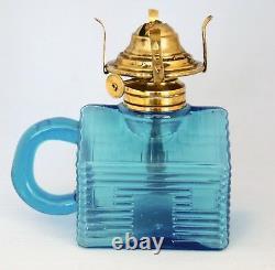 RARE Antique Atterbury Blue Log Cabin, Miniature Oil Lamp, S1-50