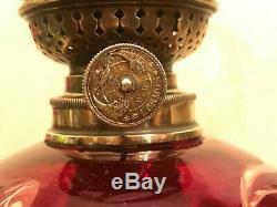RARE Antique Beautiful Kerosene Oil Lamp Red Glass Oil Lamp