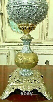 RARE Antique Bradley & Hubbard Banquet Brass Lamp Oil Kerosene B & H