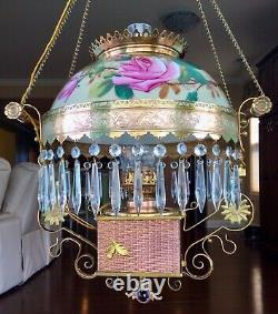 RARE Antique Charles Parker Hanging Parlor Oil Lamp Library Gorgeous Electrified