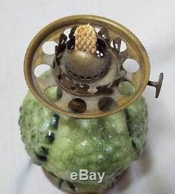 RARE Antique GREEN OWL Milk Glass MINIATURE FIGURAL OIL LAMP Complete BROWN EYES