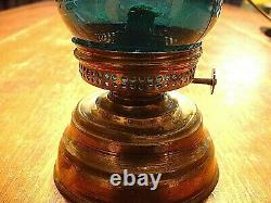 RARE Antique Miniature Victorian Skaters Lamp in Teal Color