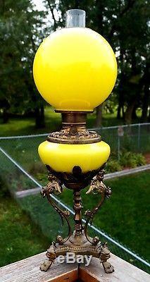 RARE Antique Victorian Fostoria Parlor Banquet GWTW Hurricane Kerosene Oil Lamp