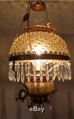 RARE Antique Victorian Hanging Oil Lamp
