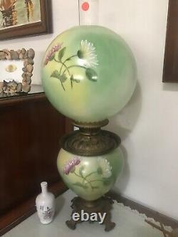 RARE HAND PAINTED Gone with the Wind Hurricane Oil Lamp Parlor Victorian