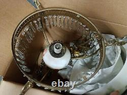 RARE Hand Painted 1800s Victorian Oil Lamp Style Brass Chandelier Poppy Theme