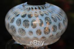 Rare 1880 Antique EAPG Leaf & Jewel Opalescent coin dot Kerosene Oil Finger Lamp