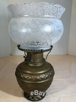 Rare 1886 Antique The Rochester Brass Oil Kerosene Lamp with Floral Glass Shade