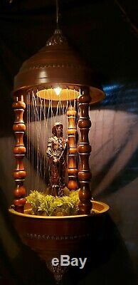 Rare 1970's Hanging Antique Oil Rain Lamp with Don Juan Statue