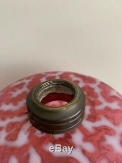Rare #1 Antique Hobbs Opalescent Coral Reef Seaweed Oil Kerosene Lamp