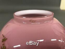 Rare 6 Antique Pink/Gold Oil Lamp Shade 2 3/4 Fitter 6 X 6