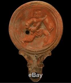 Rare Ancient Roman Soldier Terracotta Oil Lamp Pictorial Scene 1st Century
