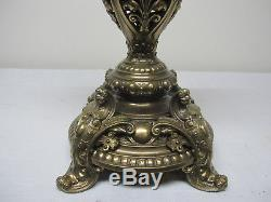 Rare Antique Banquet Lamp In Oil & Antique Mother Of Pearl White To Pink Shade