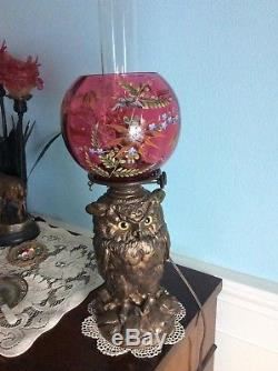 Rare Antique Craighead & Kintz Kerosene Owl Lamp -1876-Cranberry Enameled Shade