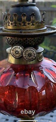 Rare Antique HINKS & Sons Brass Ruby Victorian Corinthian Column Oil Lamp