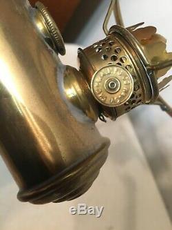 Rare Antique Miniature Lincoln Log Double Student Oil Lamp Bridgeport Brass