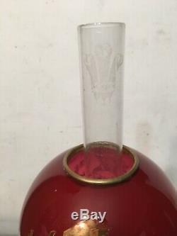 Rare Antique Miniature Oil Lamp Red Dragon Ball Shade