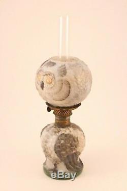 Rare Antique S1-497 Gray Milk Glass Figural Owl Miniature Oil Lamp Burner Light