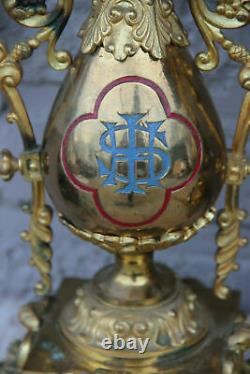 Rare Antique bronze French Church altar PAIR oil Lamps enamel decor religious