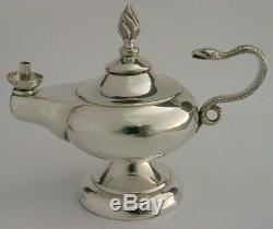 Rare English Sterling Silver Table Cigar Lighter Oil Lamp 1939 Antique
