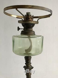 Rare Extending Victorian Corinthian Collumn Oil Lamp Base With Glass Reservoir