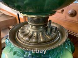 Rare Fostoria Lions Head Victorian Hand Painted GWTW Oil Lamp Electrified
