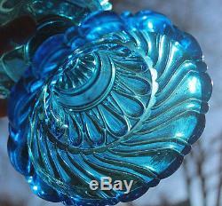 Rare Old c. 1887 Large Antique EAPG Blue Bloxam Kerosene oil lamp Amazing lamp