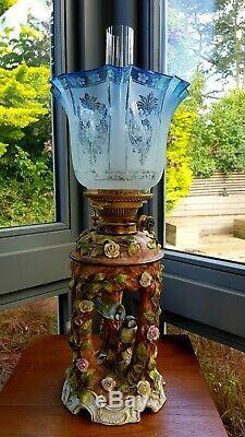 Rare Original Victorian Duplex Blue glass acid etched floral oil lamp shade 4