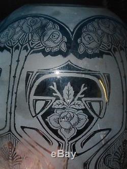 Rare Original Victorian Etched Blue Glass Duplex Oil Lamp Shade