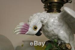 Rare Sitzendorf Porcelain Cockatoo Duplex Sized Oil Lamp