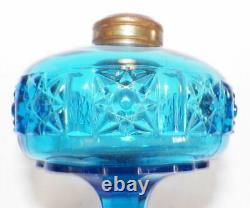 Rare Stars & Bars Miniature Lamp Blue Glass Kerosene Oil Bellaire EAPG Antique